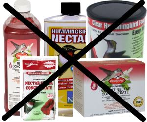 don't use artificial red dye in hummingbird food