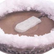 use bird bath heaters to defrost ice during the winter