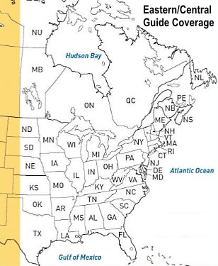 which states are covered in Eastern/Central Peterson bird field guide