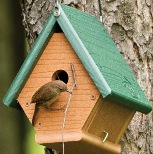 an eco-friendly recycled green wren house