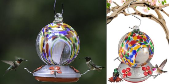 hand blown glass hummingbird feeder with perch