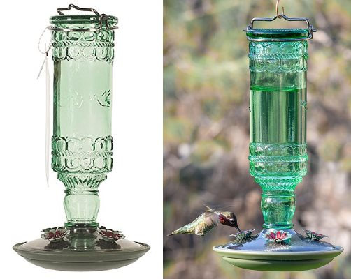 Perky Pet antique glass hummingbird feeder