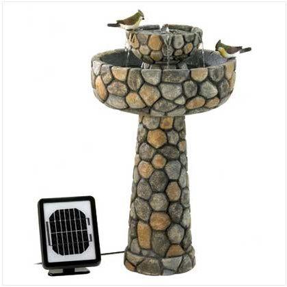 Stone Solar Bird Bath