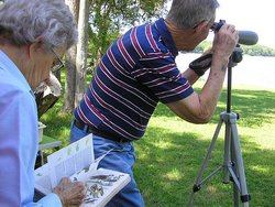 Getting a closer look with bird watching spotting scopes!